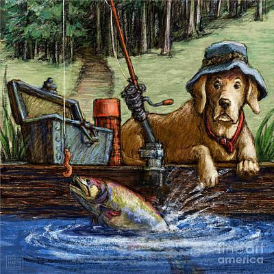 Gone Fishing Poster by Kathleen Harte Gilsenan