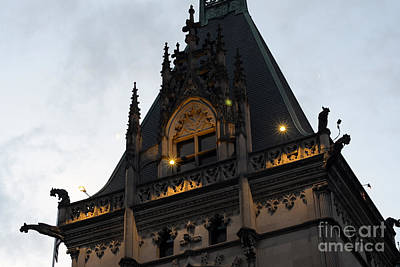Gothic Biltmore Estate Mansion Gargoyles - Biltmore Estate Mansion Gothic Rooftop Architecture Poster by Kathy Fornal
