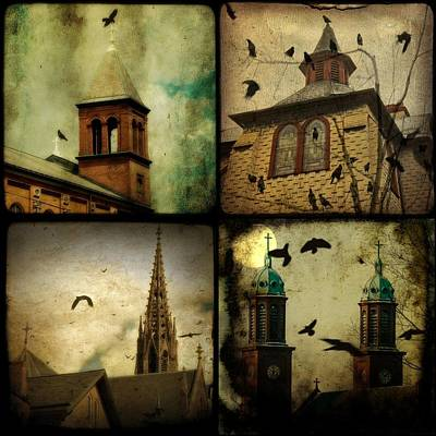 Gothic Churches And Crows Poster by Gothicolors Donna Snyder