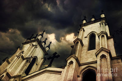 Gothic Surreal Haunting Church Steeple With Cross - Dark Gothic Church Black Spooky Midnight Sky Poster by Kathy Fornal