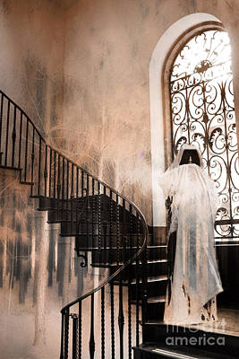 Gothic Surreal Spooky Grim Reaper On Steps Poster by Kathy Fornal