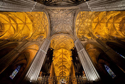 Gothic Vaults Of Seville Cathedral In Spain Poster by Artur Bogacki