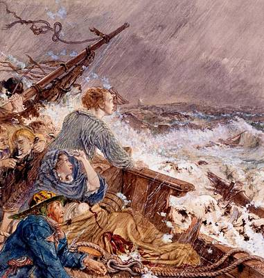 Grace Darling And Her Father Saving Poster by William Bell Scott