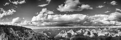 Grand Canyon Mather Point In Black  And White Poster by Lisa  Spencer