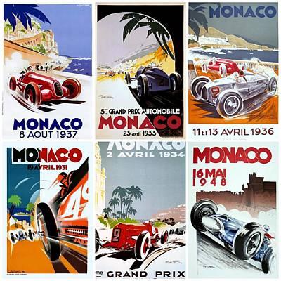 Grand Prix Of Monaco Vintage Poster Collage Poster by Don Struke