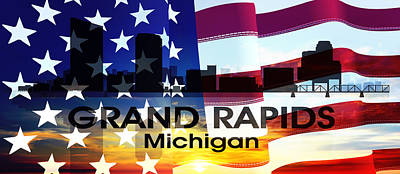 Grand Rapids Mi Patriotic Large Cityscape Poster by Angelina Vick