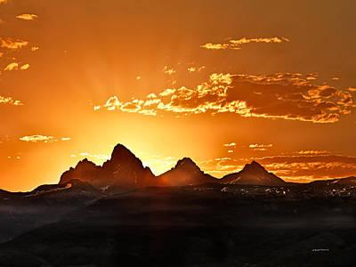 Grand Teton Sunrise Poster by Leland D Howard