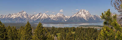 Grand Tetons Over Jackson Lake Panorama Poster by Brian Harig