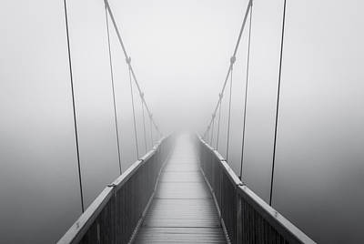 Grandfather Mountain Heavy Fog - Bridge To Nowhere Poster by Dave Allen