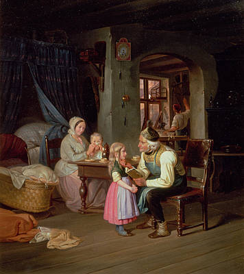 Grandpas Favourite Oil On Canvas Poster by Friedrich Edouard Meyerheim