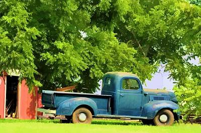 Grandpa's Old Blue Work Truck Poster by Jan Amiss Photography