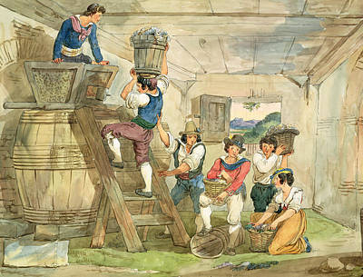Grape-pickers Carrying Grapes To The Press Pen & Ink And Wc On Paper Poster by Achille Pinelli