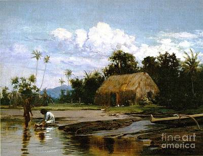 Grass House With Two Figures Poster by Pg Reproductions