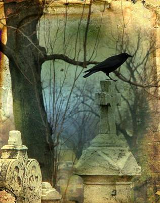 Graveyard Cross Poster by Gothicolors Donna Snyder