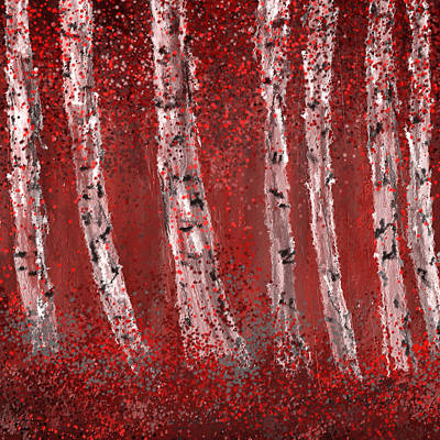 Gray And Red Birch Trees- Marsala Art Poster by Lourry Legarde