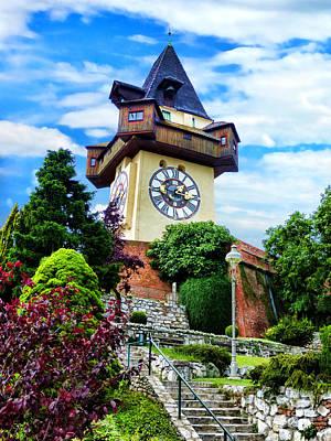 Graz Clock Tower Poster by Mariola Bitner