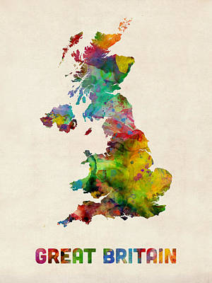 Great Britain Watercolor Map Poster by Michael Tompsett