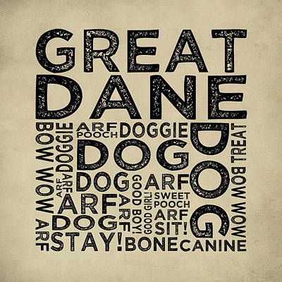 Great Dane Typography Poster by Flo Karp