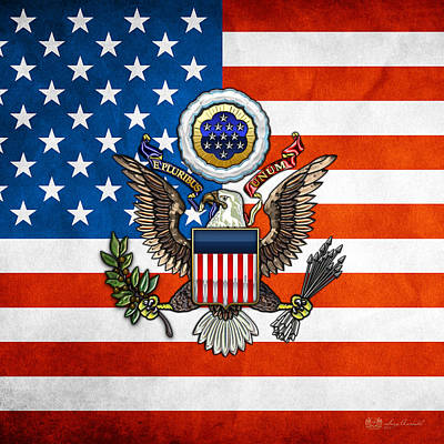 Great Seal And Flag Of The Usa Poster by Serge Averbukh