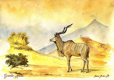 Greater Kudu Poster by Juan  Bosco