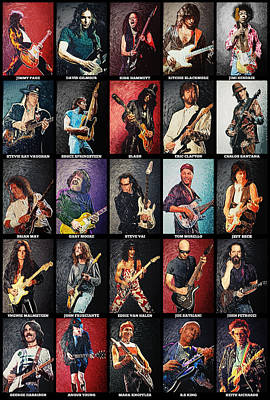 Greatest Guitarists Of All Time Poster by Taylan Soyturk
