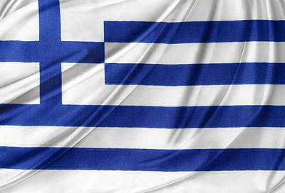 Greek Flag Poster by Les Cunliffe