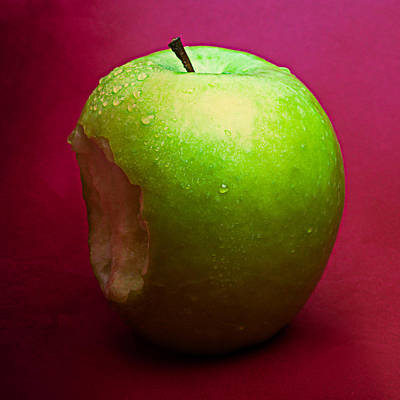 Green Apple Nibbled 2 Poster by Alexander Senin