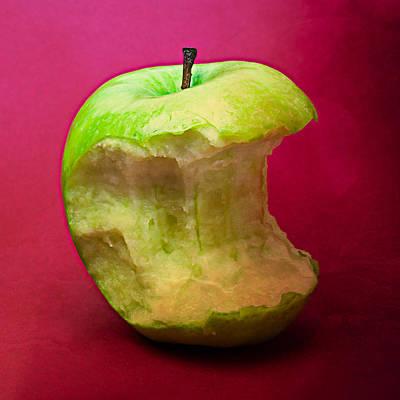 Green Apple Nibbled 7 Poster by Alexander Senin