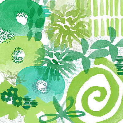 Green Garden- Abstract Watercolor Painting Poster by Linda Woods