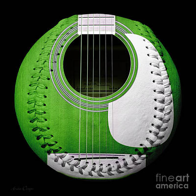 Green Guitar Baseball White Laces Square Poster by Andee Design