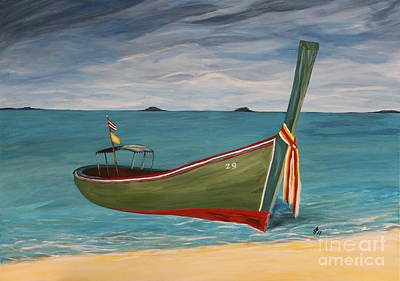 Green Longtail Boat Poster by Christiane Schulze Art And Photography