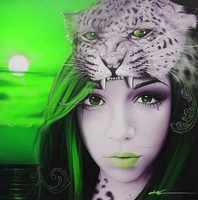 Portrait - 'green Moon' Poster by Christian Chapman Art