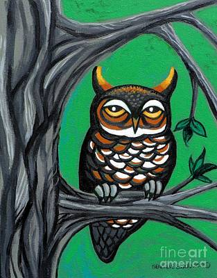Green Owl Poster by Genevieve Esson
