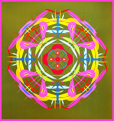 Green Pink Yellow Abstract Poster by Barbara Snyder