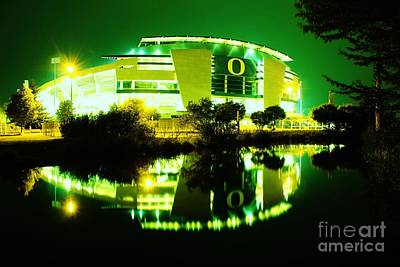Green Power- Autzen At Night Poster by Michael Cross