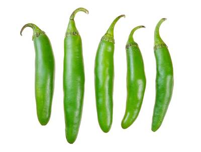 Green Serrano Peppers Poster by Jim Hughes