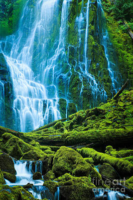 Green Waterfall Poster by Inge Johnsson