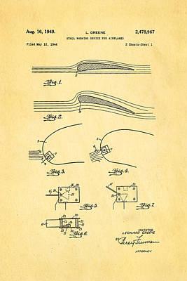 Greene Flight Stall Warning Device Patent Art 1949 Poster by Ian Monk