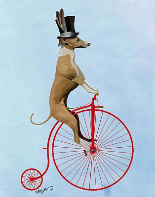 Greyhound Pennyfarthing Red Poster by Kelly McLaughlan