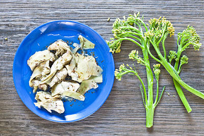 Grilled Artichoke And Brocolli Poster by Tom Gowanlock