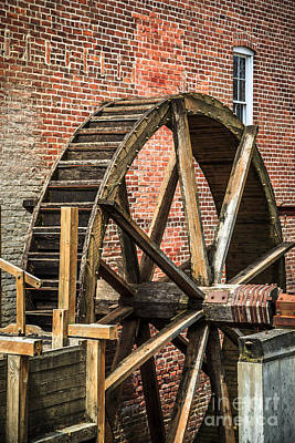Grist Mill Water Wheel In Hobart Indiana Poster by Paul Velgos