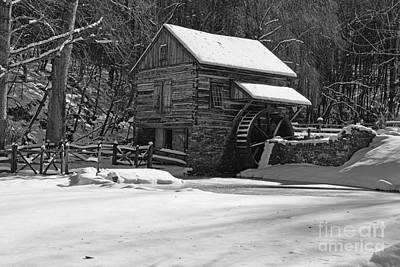 Grist Mill Winter In Black And White Poster by Paul Ward