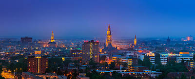 Groningen Town During Blue Hour Poster by Henk Meijer Photography