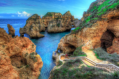 Grottos At Ponta Piedade Poster by English Landscapes