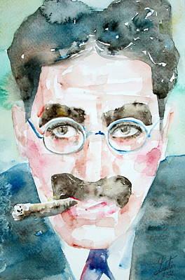 Groucho Marx Watercolor Portrait.1 Poster by Fabrizio Cassetta