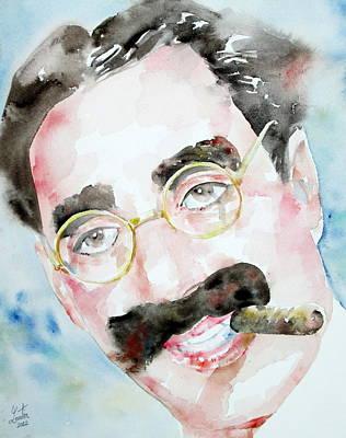 Groucho Marx Watercolor Portrait.2 Poster by Fabrizio Cassetta