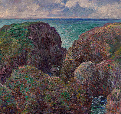 Group Of Rocks At Port Goulphar Poster by Claude Monet