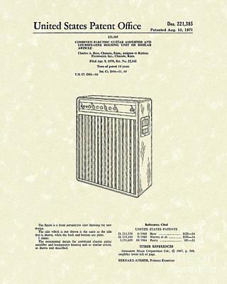Guitar Amplifier 1971 Patent Art Poster by Prior Art Design