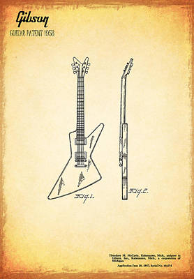 Guitar Patent 1958 Poster by Mark Rogan