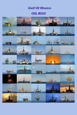 Gulf Of Mexico Oil Rigs Poster Poster by Bradford Martin